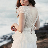Champagne gold lace wedding dress with stunning capped sleeves and sheer lace up back