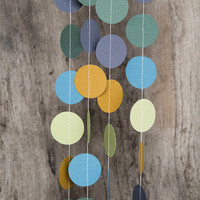 Paper garland bunting, wedding garland decor, circle garland, party home decor, nursery banner, nursery garland, photo backdrops neutrals