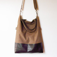 vegan tote bag brown canvas and suede fold over bag adjustable shoulder strap handstrap