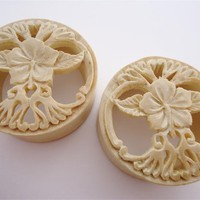 Hibiscus Flower Crocodile Wood Plugs (7/8 inch - 2 inch)