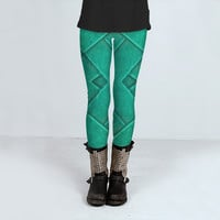 Turquoise Geometric Abstract by Daniel Ferreira-Leites (Leggings)