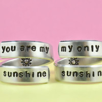 you are my sunshine/my only sunshine - Spiral Rings Set, Hand stamped Aluminum Rings, Forever Love, Mother Daughter Rings