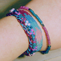"Stack Bracelet ""Pink and Blue Loom Woven Sparkle Bracelet"""