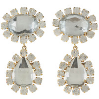 Pair of Faceted Rhinestone Teardrop Ear Clips by Christian Lacroix