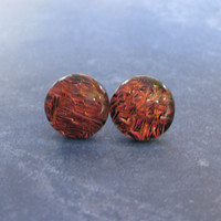 Dichroic Orange Earrings | Stud Earrings | Hypoallergenic Jewelry - Burnt Embers - 2305 -4