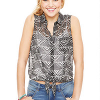 Sleeveless Tie-Front Aztec Shirt