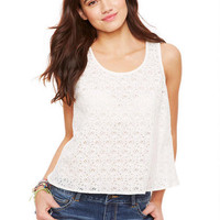 Split Back Ecru Lace  Tank