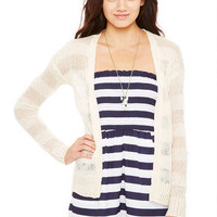 Shadow Stripe Open Cardigan