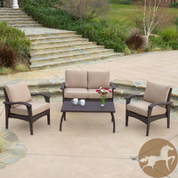 Christopher Knight Home Honolulu Outdoor 4pc Brown Wicker Seating Set & Cushions