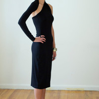 Black Dress / One-Shoulder Pencil Dress / Midi Dress / marcellamoda Signature Design - LBD - Model 03-1