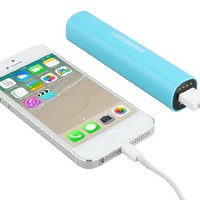 LEPOWER 2600 mAh Colorful Mini USB Portable Power Bank Charger / Backup Mobile External Battery Charger for iPhone 5 5S 5C and other USB-charged devices (8 pin cable/lightning cable is not included) (Blue)