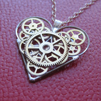 "Clockwork Heart Necklace ""Omni"" Elegant Industrial Heart Pendant Mechanical Steampunk Love Sculpture Gershenson-Gates Gear Heart"