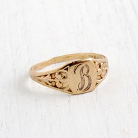 Antique Art Deco Monogrammed B 10k Yellow Gold Ring - Size 3 Baby Midi 1920s Floral Initial Jewelry