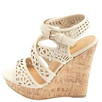 Laser-Cut Strappy Platform Wedges