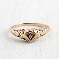 Antique 10k Yellow Gold Art Deco Heart Diamond Ring - Size 7 1/4 Vintage Filigree 1930s Love Jewelry