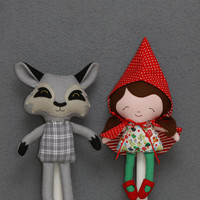 Little Red Riding Hood doll and Mister Wolf stuffed animal (toy, decoration) made from an original Dolls and Daydreams pattern