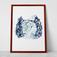 Indigo Watercolor Print