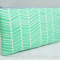 Turquoise green herringbone cosmetic case, zipper pouch, makeup bag, clutch, pencil case with gray accent