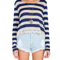Striped Crochet Trim Sweater