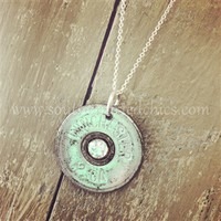 Vintage Silver Crystal 12 Gauge Shotgun Shell Necklace