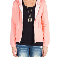 Neon Terry Zip Jacket - Orange