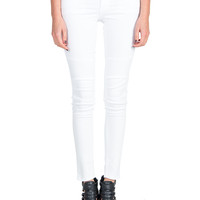 Flying Monkey - White Moto Denim Skinny Jeans