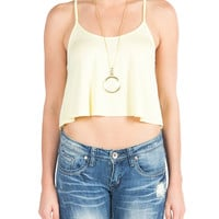 Flared Racerback Crop Tank - Yellow