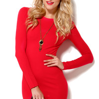 Six Crisp Days Long Sleeve Knit Mini Dress in Red