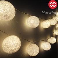 SALE 10% 2 Sets of 20 Big Cotton Balls White Color Fairy String Lights Party Patio Wedding Floor Table or Hanging Gift Home Decoration