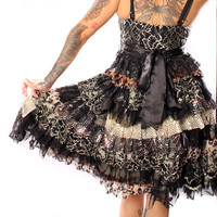 Black Ruffle Dress - Floral Ruffles Upcycle, Holiday Party Dress