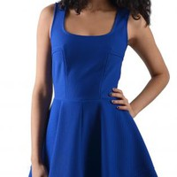 Royal Blue Microfiber Sleeveless Dress with Flared Skirt