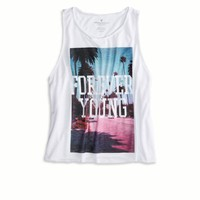 AEO Women's Photo Real Graphic Tank (White)