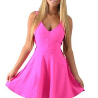 Hot Pink Cutout Skater Dress
