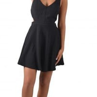 Black Cutout Skater Dress