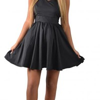 Black Ballerina Dress with Open Back