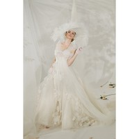 Net and Layered Applique Vintage Strapless Ball Gown Wedding Dress