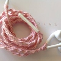 Wrapped Tangle Free Earbuds for iPhone Carnation Pink with Beads with Microphone and Volume Control - by MyBuds