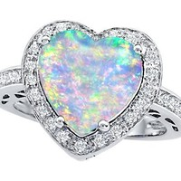 Original Star K (tm) Large 10mm Heart Shape Created Opal Engagement Wedding Ring