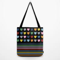 Heart Stripes Black Tote Bag by Project M
