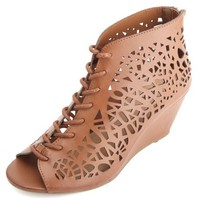 LASER-CUT LACE-UP WEDGE SANDALS