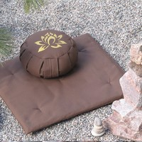 Zafu Zabuton Meditation Cushion Pillow set LOTUS Brown