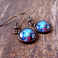 Space Earrings : Space Sparkle. Copper Earrings. Dangle Earrings. Art. Handmade Jewelry. Jewellery. Lizabettas