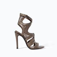 LEATHER OPEN TOE HIGH HEEL SANDAL