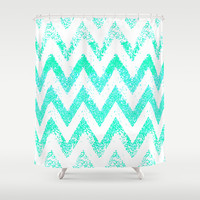 mint chevron Shower Curtain by Marianna Tankelevich