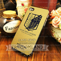 Scouting Legion Attack On Titan Gold - iPhone 4/4s/5/5S/5C Case - Samsung Galaxy S3/S4 Case - Plastic/Rubber - Black or White