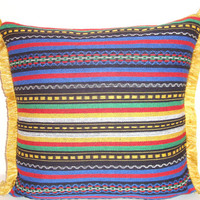 Hand woven Rustic Arab pillow – Colorfull stripe fringe18x18