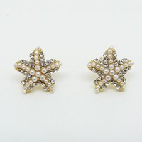 Yazilind Jewelry Korean Style Pentagram With Full Pearl Craystal Stud Earrings for Women Gift Idea