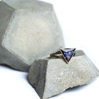 Triangle ring with nebula glitter, Geometric Galaxy Triangle ring with nebula color theme glitter - Geometric ring - cosmic space jewelry