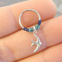 Silver Sparrow Bird Cartilage Hoop Beaded Navy Earring Boho Tragus Helix Piercing