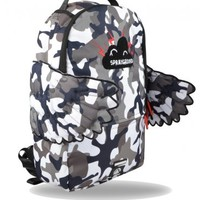Sprayground Black Pyramid CB Grey Camo Wings Backpack